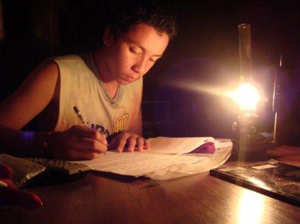 Krishna in the light of kerosene lamp