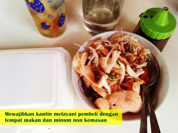 Mewajibkan setiap kantin di Fisip melayani pembeli dengan tempat makan & minum non kemasan
